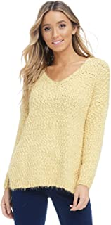 Alexander + David Womens V-Neck Fall Pullover Sweater - Dolman Chunky Fuzzy Knit