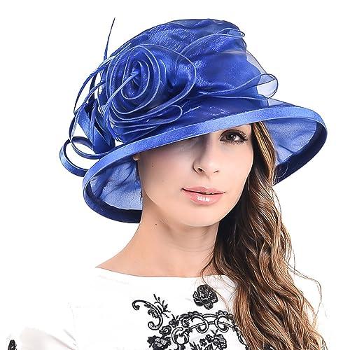 F N STORY Lady Kentucky Derby Dress Church Wedding Party Hat Drown Brim  S043 Purple cad4efde94b