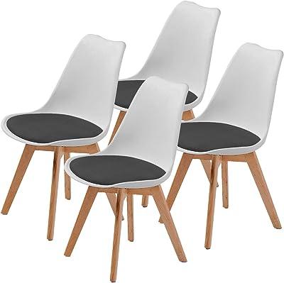 La Bella Replica Eames PU Padded Dining Chair - White & Black X4