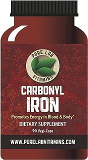Pure Lab Vitamins Carbonyl Iron Supplement- 90 Vegetarian Caps - Unique Formulation of Metallic Iron with Ascorbic Acid, S...