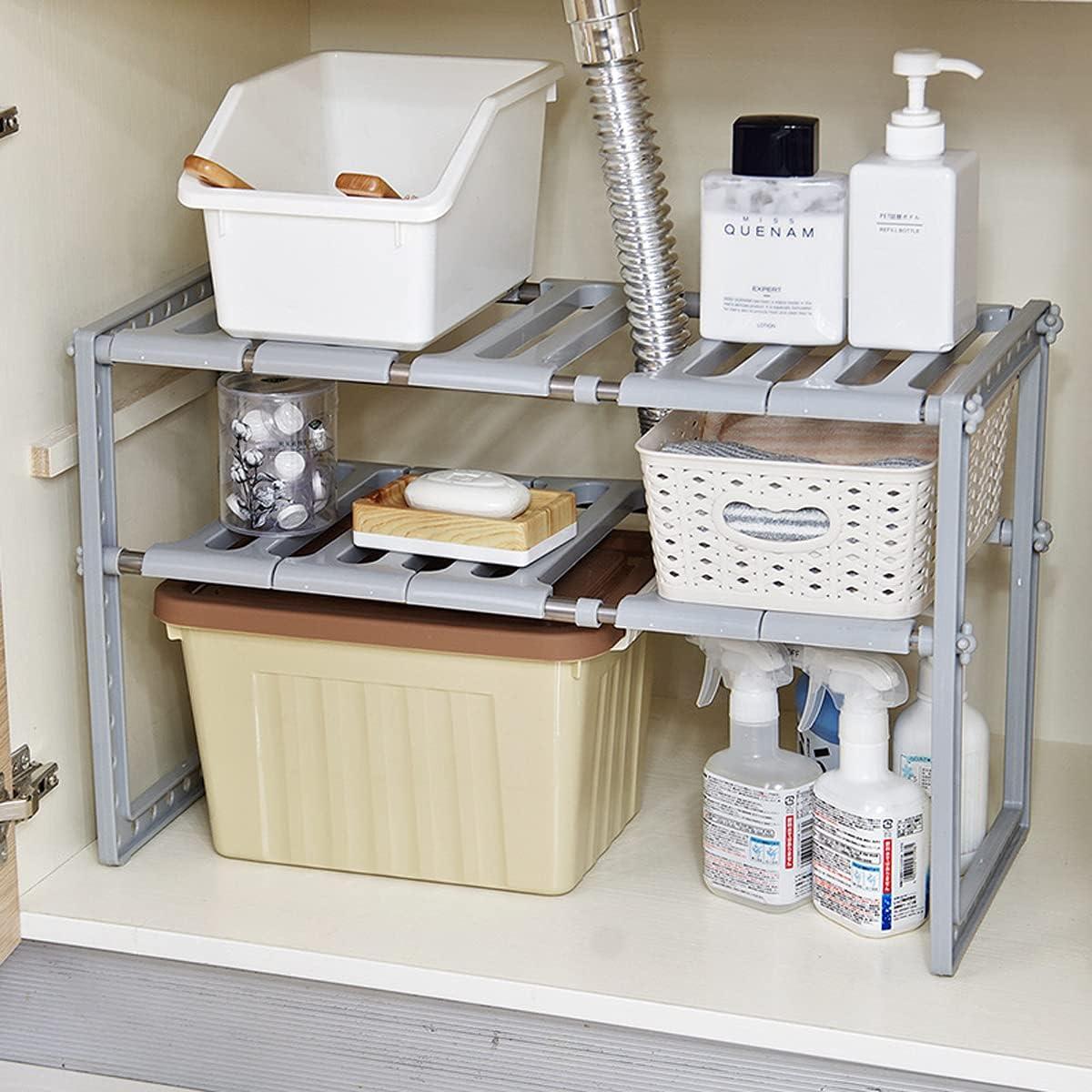 Buy Yancorp Under Sink 2 Tier Expandable Shelf Organizer Rack Under Sink Organizers And Storage Adjustable Shelf Organizer Rack For Kitchen Bathroom Grey Online In Indonesia B08p6p9tgl