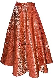 Mamta women's Women's Umbrella Cut Traditional Lehenga/Skirt for Party/Festival Function, Orange