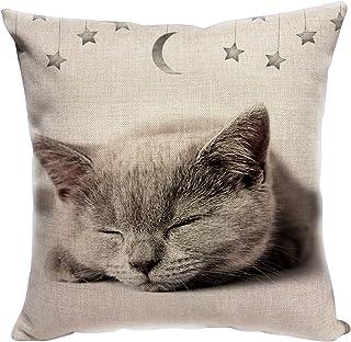 YISUMEI Funda de cojín de 50 x 50 cm, para decoración del hogar, sofá, funda de cojín, gatito, gato, sueño, estrella, luna