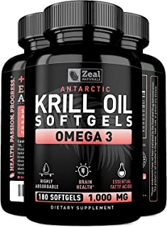 Pure Antarctic Krill Oil + Omega 3 (1000mg | 180 Softgels) Maximum Strength Omega 3 Krill Oil Supplement with EPA, DHA & Astaxanthin - Omega 3 Fish Oil for Joint Support, Brain Health, Heart Health