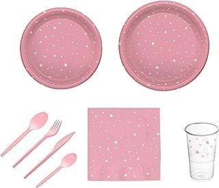 Pack para fiesta infantil o cumpleaños con diseño de estrellas - Color Rosa - Set de