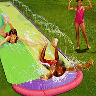 Giant Double Lawn Water Slide 16ft Slip and Slide Play Center Slide Water Spraying and Crash Pad for Kids Children Summer ...