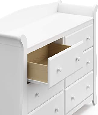 Storkcraft Avalon 6 Drawer Universal Dresser | Ideal for Nursery, Toddlers and Kids rooms | White