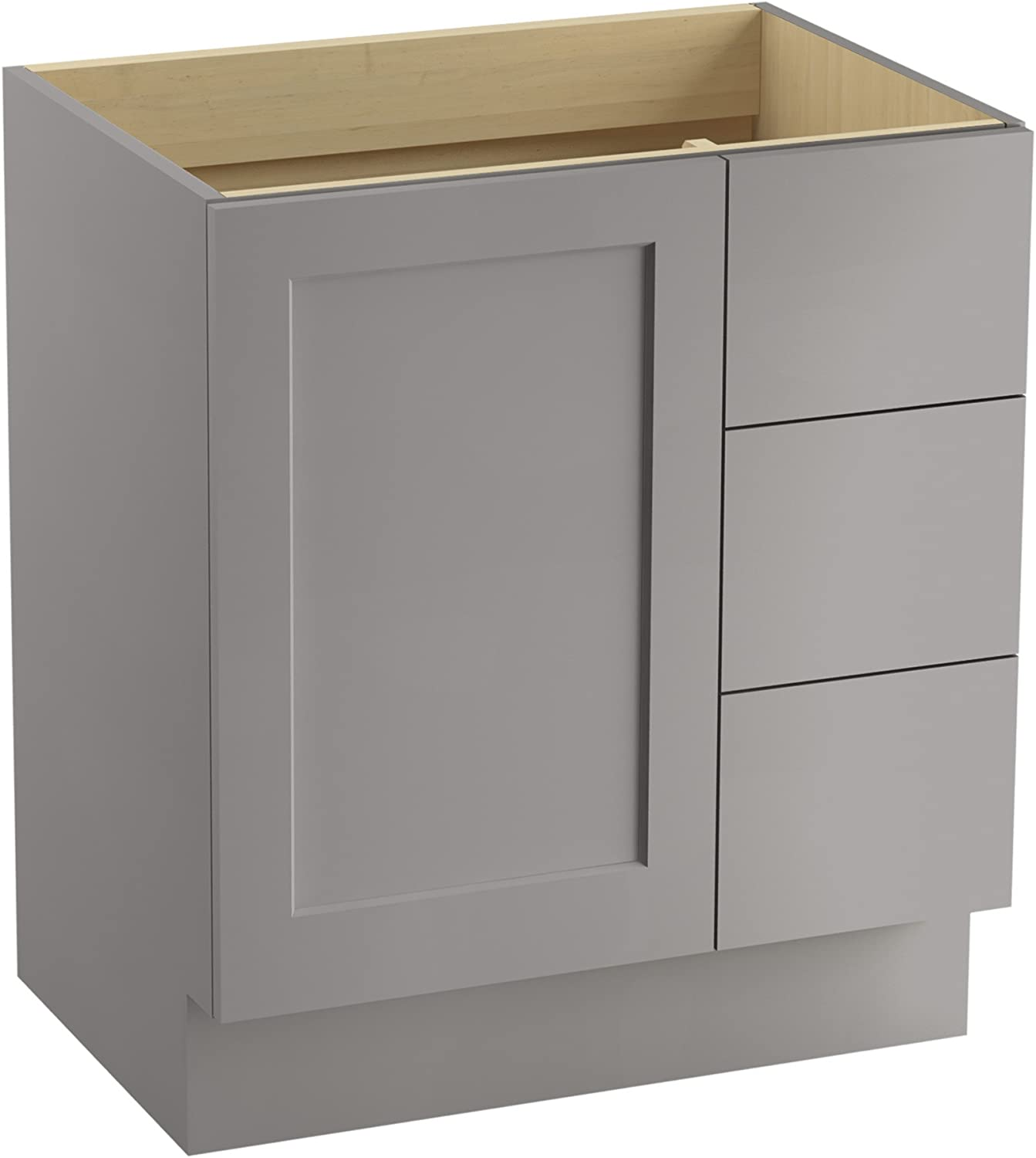 Kohler K 99530 Tkr 1wu Poplin Vanity With Toe Kick 1 Door 3 Drawers On Right Batiste Black 30