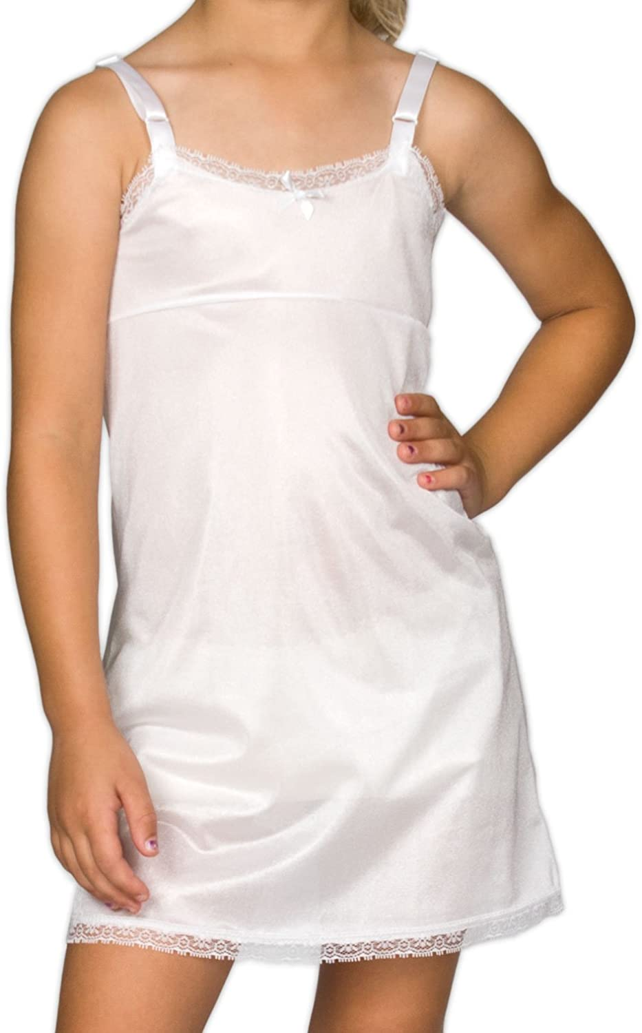 I.C. Collections Little Girls White Simple Empire Waist Slip, 4-6X