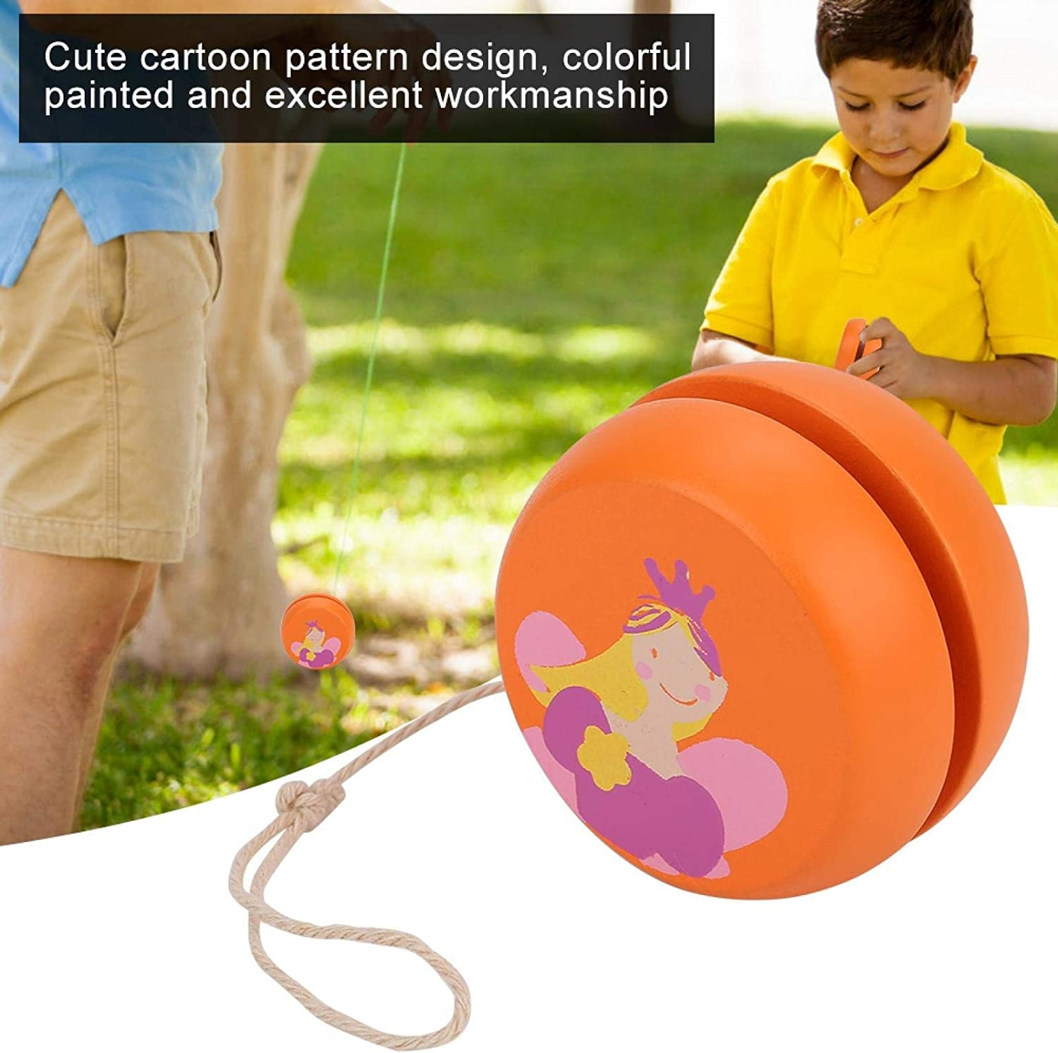 w Vbestlife Wooden Yoyo Ball with Cute Cartoon Pattern,Toy Early Education Teaching Toy for Kid Child,Kids Beginner,Train Kids Cognitive Ability and Flexibility.