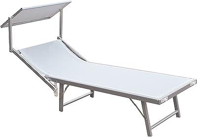 Ecr/ù Tot/ò Piccinni Lettino KAMP Prendisole Pieghevole Leggero in Alluminio con Cuscino e TETTUCCIO qualit/à Top Regolabile 5 Posizioni