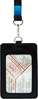 BK Miracle ID Badge Card Holder, Name Badge Holder with Lanyard, Neck Lanyard id Holder for Women Men,2-Sided PU Leather Vertical Business Neck Card Holder (Black)