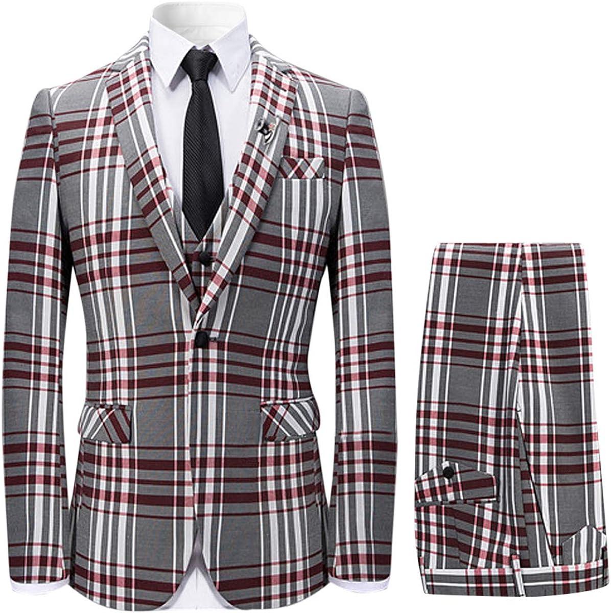 Mens 3 Piece Suit Check Max 53% OFF Plaid Slim B Store One fit Formal Button Dress