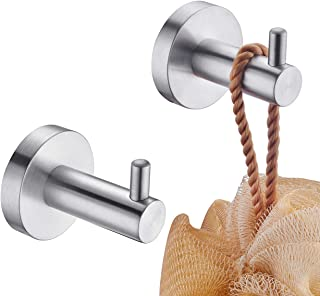 KLXHOME Bathroom Robe Hook Brushed Stainless Steel Coat/Towel Clothes Hook for Bath Kitchen Garage Wall Mounted (2 Pack), ...