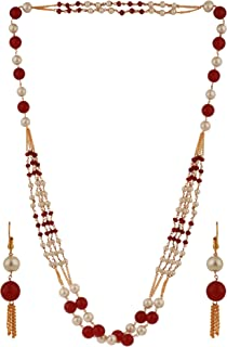 Indian Layered Traditional Pink Faux Ruby Pearl Beads Strand Necklace Earrings Set Fashion Costume Jewelry