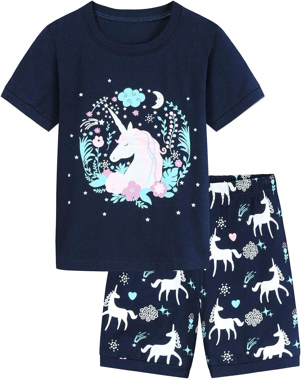 Toddler Girls Pajamas Sets Girls Pjs Short Sleeve Unicorn Graphic Girls Clothes for Summer Wear 100% Cotton