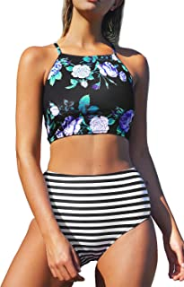 Women's Leaves Printing High-Waisted Halter Swimwear Beach Bikini