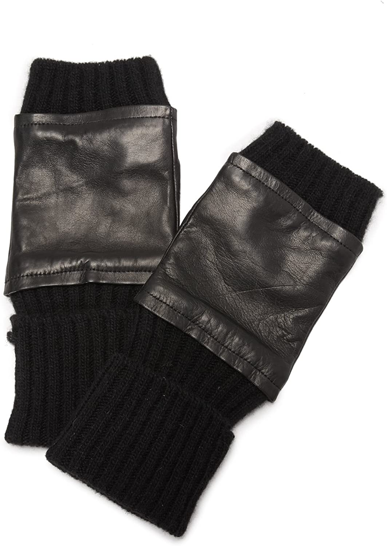 Carolina Amato Women's Fingerless Knit & Leather Gloves, Black/Black, M/L