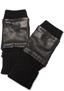 Women's Fingerless Knit & Leather Gloves