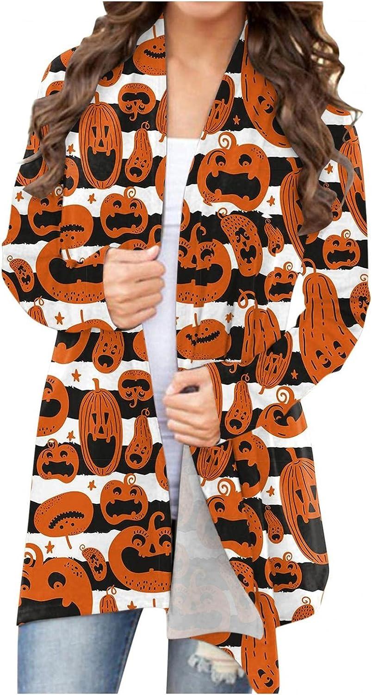 UOCUFY Women's Halloween Cardigan, Womens Cute Tops Pumpkin Ghost Graphic Long Sleeve Open Front Coat Lightweight