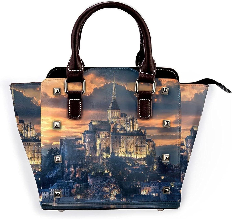 Ladies Leather Rivet Shoulder Bag Multi-F online Fashionable shop Castle Sceneryhandbag