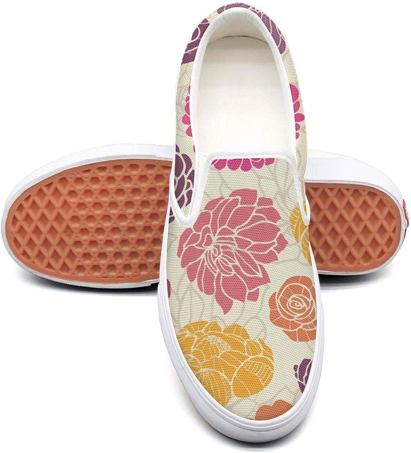 RegiDreae Canvas Slip on Sneakers for Women colorful Abstract Peonies Flowers Fashion Sneaker