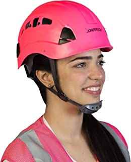 JORESTECH Hard Hat Pink ABS Work-At-Height and Rescue Slotted Ventilated Helmet with 6-Point Ratchet Suspension ANSI Z89.1-14 Certified For Work, Home, and General Headwear Protection HHAT-04