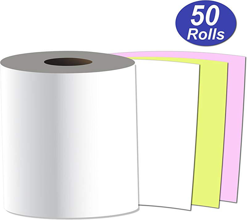 Alliance Receipt Rolls Paper 3 X 65 X 7 16 Core 3 Ply White Canary Pink 50 Rolls Per Carton