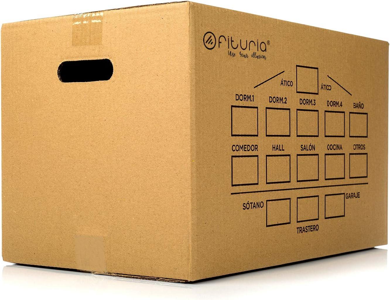 Cajas de Carton de Canal Simple Reforzado con Asas Integradas Cajas Carton Mundanza 430x300x250mm Fabricadas en Espa/ña 15 UNIDADES