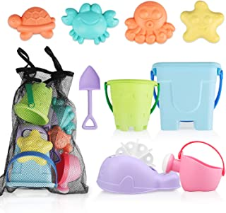 TOY Life Sand Toys for Kids - 9 Beach Toys Includes Sand Bucket Shovel and Sand Castle Toys for Beach - Sandbox Toys Set w...