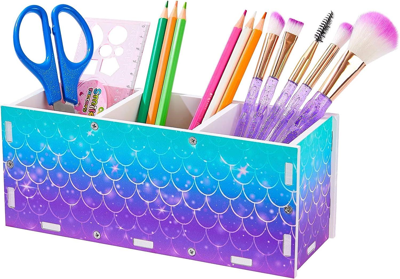 ICOSY Pencil Holder Organizer Kids Girl Brush Mermaid Max 81% OFF Makeup Hol Surprise price