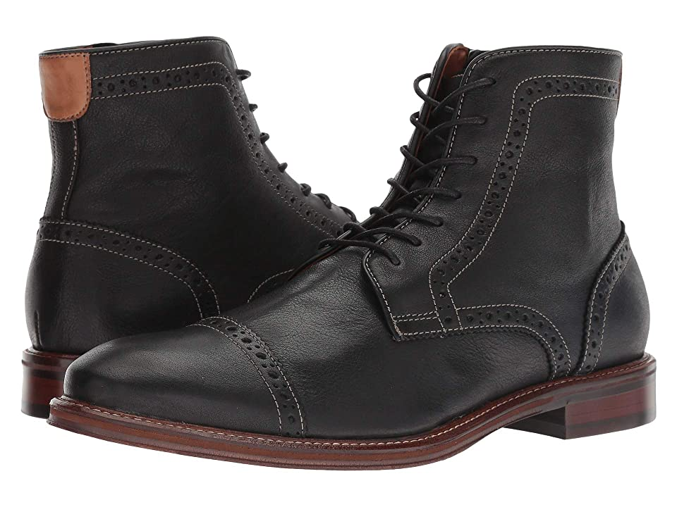 Johnston & Murphy Warner Cap Toe Zip Boot (Black Full Grain) Men