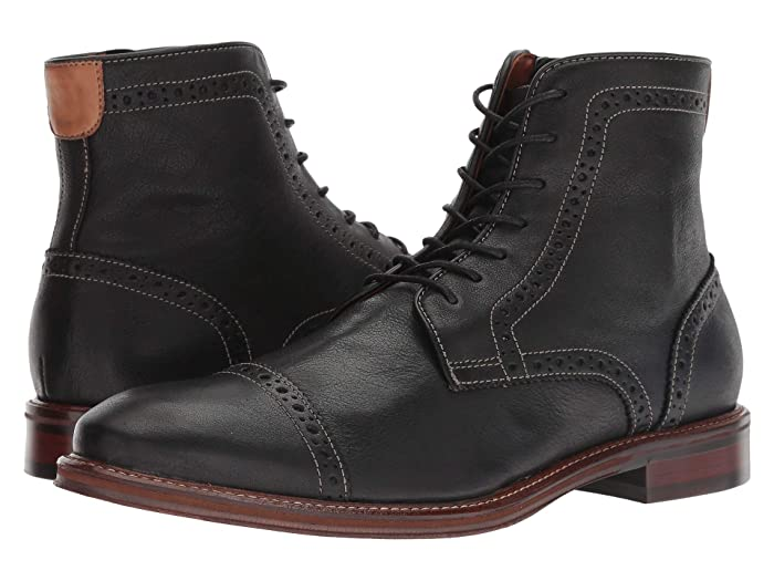 Johnston and Murphy  Warner Cap Toe Zip Boot (Black Full Grain) Mens Dress Lace-up Boots