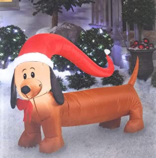 Air Blown Inflatable Dachshund Weiner Dog Outdoor Christmas Holiday Decoration - 4 feet Wide
