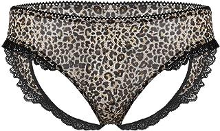 iixpin Men's Leopard Print Mini Briefs Mesh Heart Shaped Bottoms Hollow Out Lace Trim Panties