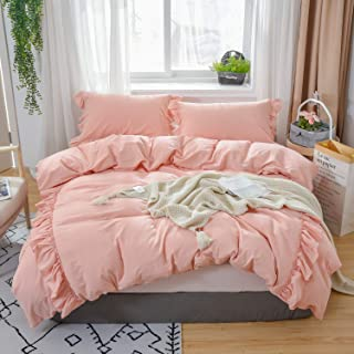 Softta California King Bedding Pink 3 Pcs Boho Duvet Cover Vintage and Shabby Ruffle Bohemian Quilt Cover 100% Washed Cotton Baby Teen Girls Bedding