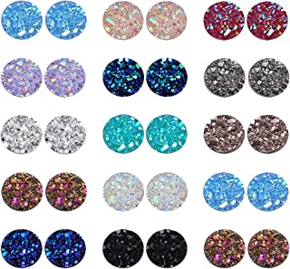 PP OPOUNT 260 Pieces Mixed Shinny Colors Faux Druzy Cabochons Round Flat Back Dome Cabochons for Jewelry Making, DIY Craft...