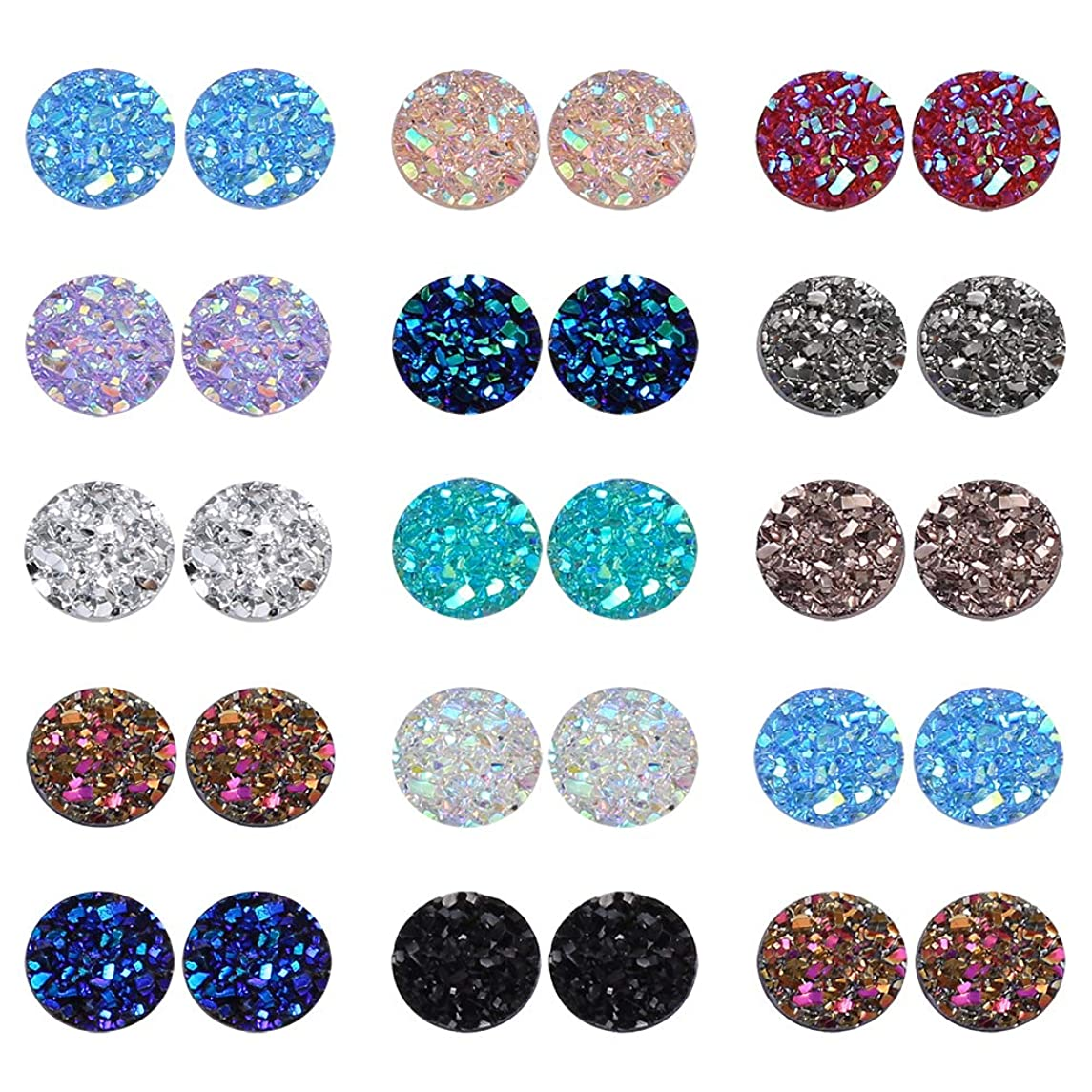 PP OPOUNT 260 Pieces Mixed Shinny Colors Faux Druzy Cabochons Round Flat Back Dome Cabochons for Jewelry Making, DIY Craft (8mm in Diameter)