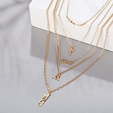 LLONG Tassel Multilayer Necklace Layered Crystal Pendant Long Choker Y Lariat Necklace Bar Pendan Small Dot Clavicle Chain De