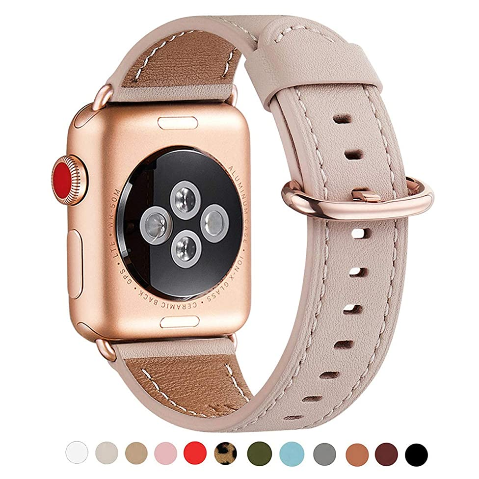 WFEAGL Compatible iWatch Band 40mm 38mm, Top Grain Leather Band with Gold Adapter (The Same as Series 4/3 with Gold Aluminum Case in Color) for iWatch Series 4/3/2/1 (Pink Sand Band+Rosegold Adapter)