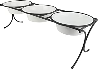 Platinum Pets 12 Cup Bistro Triple Raised Feeder with Stainless Steel Wide Rimmed Bowls, Pearl White