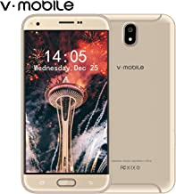 Điện thoại di động Android – V Mobile J5 Dual SIM Unlocked Cell Phones, 5.5 inch HD, Quad Core 16GB ROM, Android 8.0, 8MP Face ID Unlocked Smartphone, Compatible with ATT, T-Mobile, Cricket, Metro PCS Other GSM Carriers (Gold)