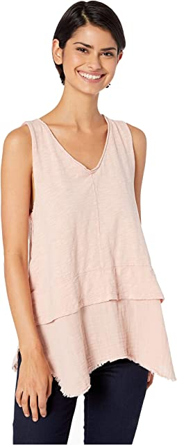 Soft Slub Cotton Vintage V-Neck with Double Light Gauze