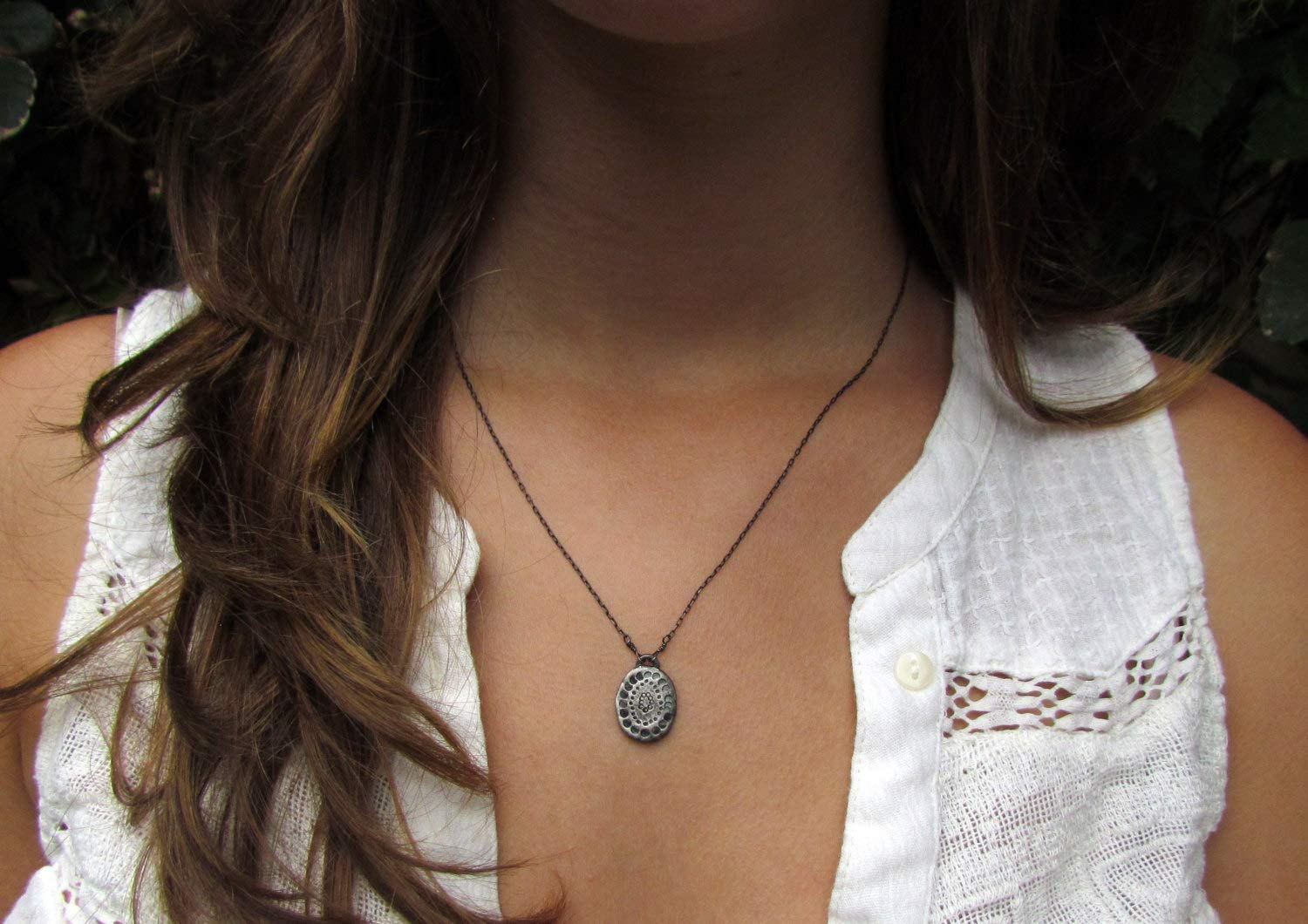Factory outlet Ranking TOP14 Oxidized Silver Necklace Silve Hammered Flower