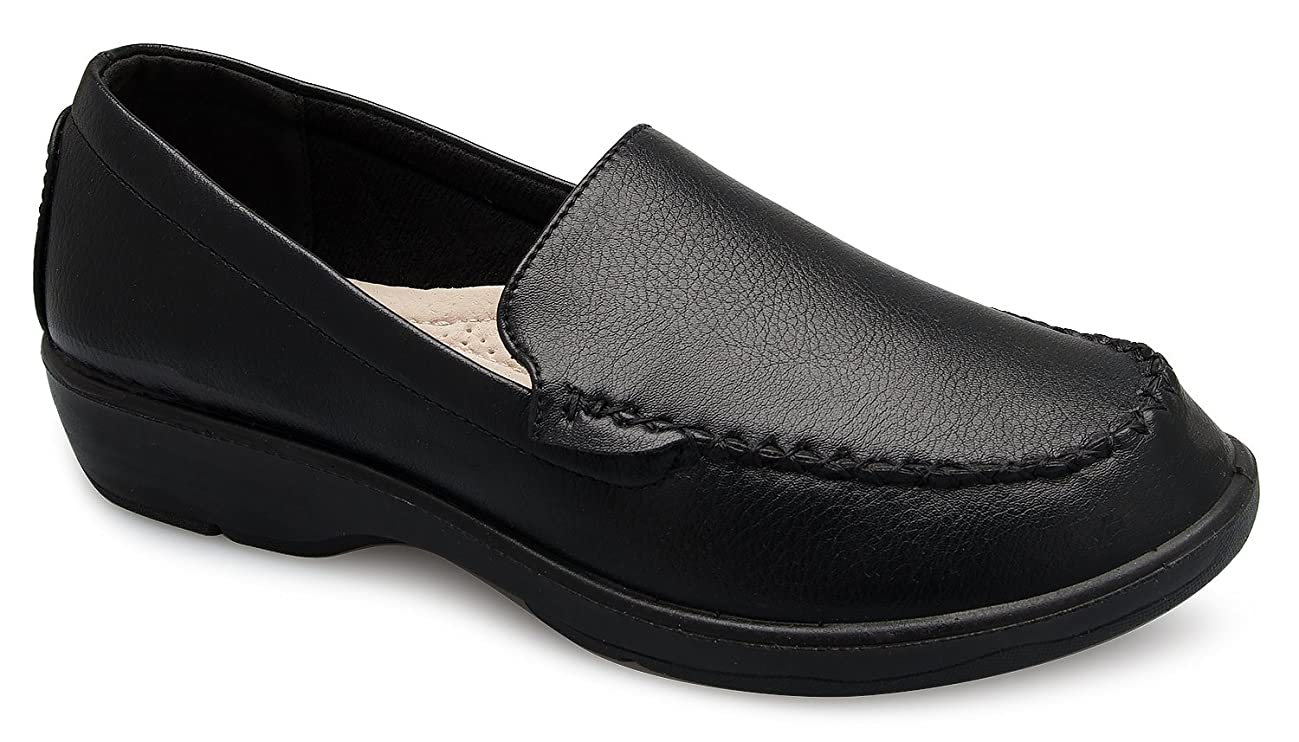 OLIVIA K Women's Easy Slip On Work Office Uniform Resistant Flatform Daily Life Shoes