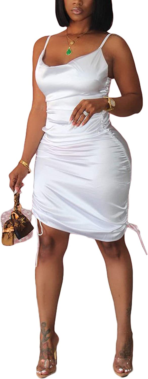 Kafiloe Women Sexy Spaghetti Strap Dress Sleeveless Ruched Bodycon Midi Dress Drawstring Party Clubwear Mini Dress