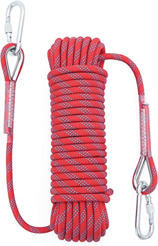 2021 Outdoor Climbing Rope 12MM Diameter 10M(32ft) 20M(64ft) Static Rock Climbing Rope Tree sale Climbing Rappelling Rope outlet sale Escape Nylon Rope Ice Climbing Equipment Fire Rescue Parachute Rope with 2 Steel Hooks online sale