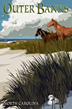 Outer Banks, North Carolina - Horses and Dunes (36x54 Giclee Gallery Print, Wall Decor Travel Poster)