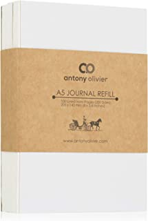 Antony Olivier Leather Notebook Refill Inserts   Lined Paper - Set of 3   100 Sheets Color Ivory (200 Pages)   Size A5 (205 x 143 mm)