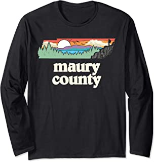 Maury County Tennessee Outdoors Retro Nature Graphic Long Sleeve T-Shirt